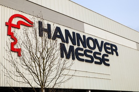 Logo and sign of exhibition Cebit 2017 in Hannover Messe, Germany