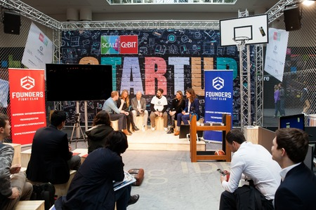 founders: Hannover, Germany - March, 2017: Founders Fight club conference, live stage conference on exhibition Cebit 2017 in Hannover Messe, Germany