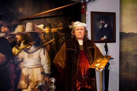 Amsterdam, Netherlands - March, 2017: Wax figure of Rembrandt van Rijn painter in Madame Tussauds Wax museum in Amsterdam, Netherlands