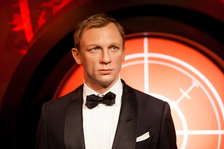 Amsterdam, Netherlands - March, 2017: Wax figure of Daniel Craig as James Bond 007 agent in Madame Tussauds Wax museum in Amsterdam, Netherlands