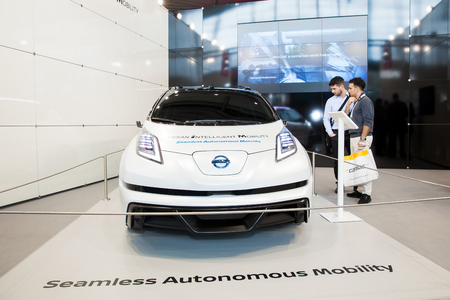 Hannover, Germany - March, 2017: Nissan autonomous mobility car on exhibition fair Cebit 2017 in Hannover Messe, Germany