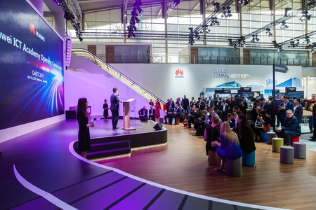 Huawei ICT Academy opening ceremony. Visitors on exhibition Cebit 2017 in Hannover Messe, Germany