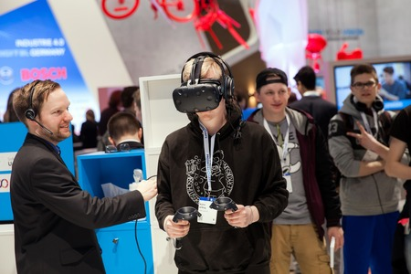 Virtual reality experience on Software AG stand on exhibition fair Cebit 2017 in Hannover Messe, Germany