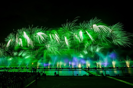 Moscow, Russia - September, 2016: Moscow International Festival Circle of light. Firework show on Moscow rowing basin Editorial