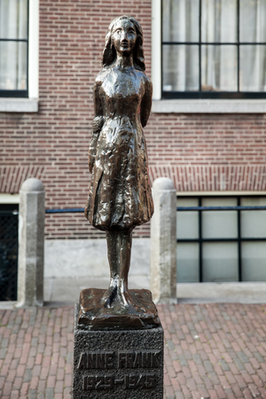 Statue of Anne Frank in Amsterdam, Netherlands. The statue by Dutch sculptor Mari Andriessen near Westerkerk church.