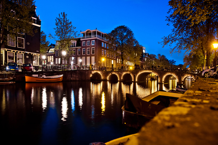 Night shot of canal of Amsterdam
