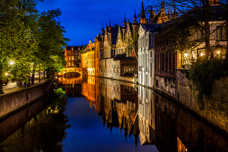 Canals in Bruges at night Stock Photo