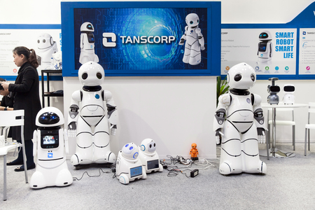 Hannover, Germany - March, 2017: Smart robot UU dancing. Shenzhen Tanscorp technology company on exhibition Cebit 2017 in Hannover Messe, Germany