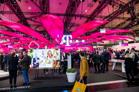Hannover, Germany - March, 2017: Deutsche Telekom company on exhibition Cebit 2017 in Hannover Messe, Germany Editorial