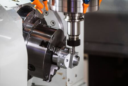 alloy: CNC turning center close up metal processing machine Stock Photo