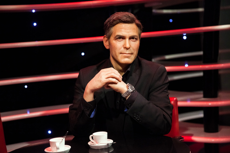 Wax figure of George Clooney in Madame Tussauds Wax museum in Amsterdam, Netherlands Editorial