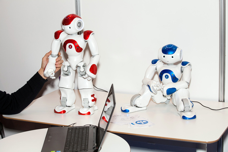 Programmable humanoid robot NAO on Robotics Expo in Moscow, Russia