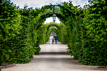 rundale: Rundale, Latvia - July, 2017: Green garden arches and path. Landscape gardening design in Rundale palace, Latvia