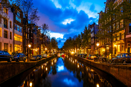 Night shot of Amsterdam canals city view, Netherlands