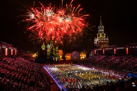 Moscow, Russia - August, 2017: Firework pyrotechnic show on International Military Tattoo Music Festival Spasskaya Tower in Moscow, Russia