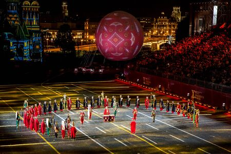 Moscow, Russia - August, 2017: Performance of Turkish Armed Forces Mehteran Unit from Turkey on International Military Tattoo Music Festival Spasskaya Tower in Moscow, Russia