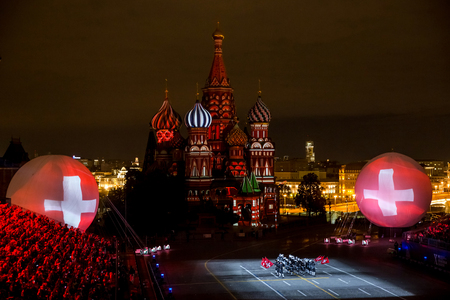 Moscow, Russia - August, 2017: Performance of Top Secret Drum Corps from Switzerland on International Military Tattoo Music Festival Spasskaya Tower in Moscow, Russia