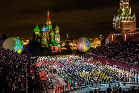 Moscow, Russia - August, 2017: All participants together on International Military Tattoo Music Festival Spasskaya Tower in Moscow, Russia Editorial