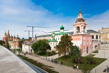 Moscow, Russia - September, 2017: Varvarka street with cathedrals and churches - view from new Zaryadye Park located near Red Square in Moscow, Russia