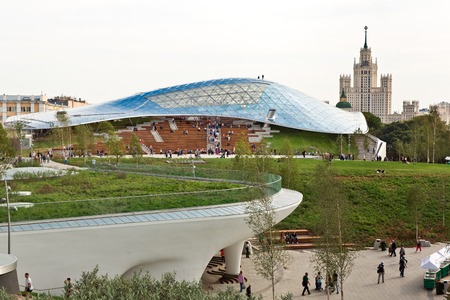 Moscow, Russia - September, 2017: Philharmonic concert hall in new Zaryadye Park, urban park located near Red Square in Moscow, Russia