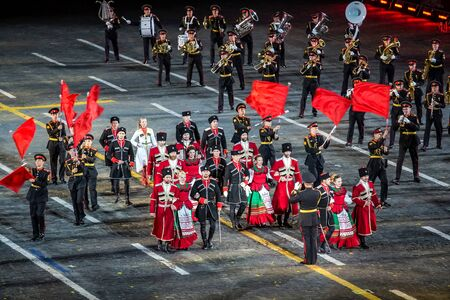 Moscow, Russia - August, 2017: Performance of Russian Moscow Military Band on International Military Tattoo Music Festival Spasskaya Tower in Moscow, Russia