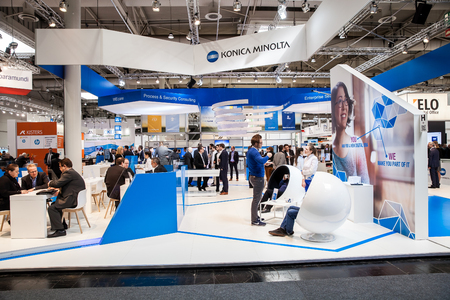 Hannover, Germany - March, 2017: Konica Minolta company stand on exhibition fair Cebit 2017 in Hannover Messe, Germany