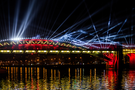 International Festival Circle of Light. Laser video mapping show on the bridge in Moscow, Russia