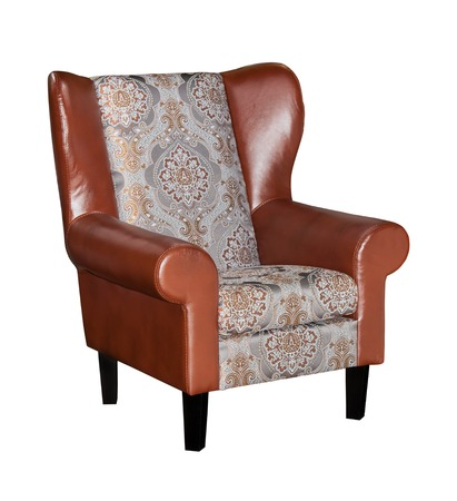 Vintage brown leather armchair isolated