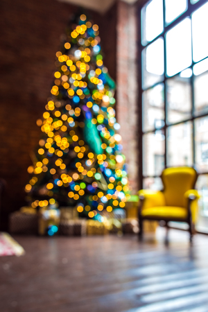 Christmas lights background with bokeh effect, defocused new year year tree backdrop Stock Photo