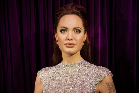 Wax figure of Angelina Jolie in Madame Tussauds Wax museum in Amsterdam, Netherlands 報道画像