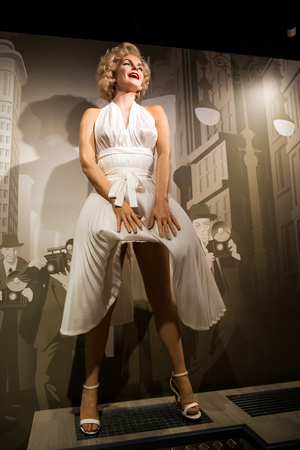 Wax figure of Marilyn Monroe, american actress and model in Madame Tussauds Wax museum in Amsterdam, Netherlands