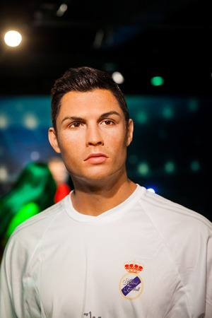 Wax figure of Cristiano Ronaldo soccer player in Madame Tussauds Wax museum in Amsterdam, Netherlands