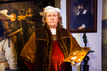 Wax figure of Rembrandt van Rijn painter in Madame Tussauds Wax museum in Amsterdam, Netherlands Editorial