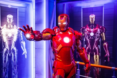 Wax figure of Tony Stark the Iron Man from Marvel comics in Madame Tussauds Wax museum in Amsterdam, Netherlands Editöryel