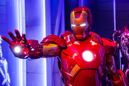 Wascijfer van Tony Stark de IJzeren Man van Marvel-strips in Madame Tussauds Wax-museum in Amsterdam, Nederland Redactioneel