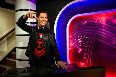 Amsterdam, Netherlands - March, 2017: Wax figure of Dutch DJ and record producer Tijs Michiel Verwest known as Tiesto in Madame Tussauds Wax museum in Amsterdam, Netherlands