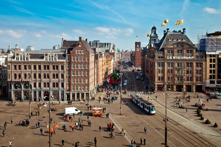 Aerial view of main square of Amsterdam city, Holland