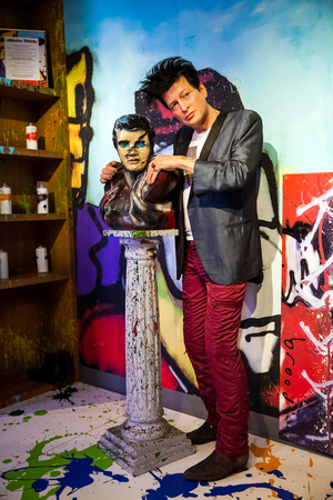Wax figure of Dutch musician and painter Herman Brood in Madame Tussauds Wax museum in Amsterdam, Netherlands