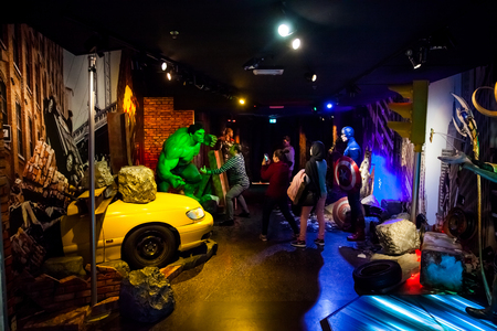 Wax figure of fictional superhero Hulk in Madame Tussauds Wax museum in Amsterdam, Netherlands