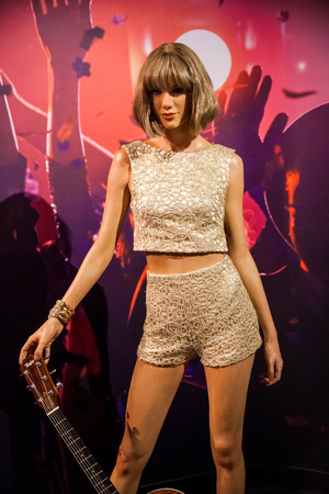 Wax figure of American singer Taylor Alison Swift in Madame Tussauds Wax museum in Amsterdam, Netherlands 写真素材 - 111808749