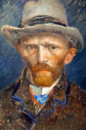 Grafika portretowa słynnego malarza Vincenta van Gogha. Zbliżenie malarstwa w Rijsmuseum w Amsterdamie, Holandia
