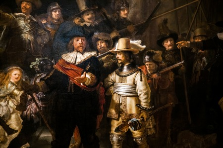 Piece segment of The Night Watch, Rembrandt's largest and most famous painting in Rijksmuseum's Gallery Editorial