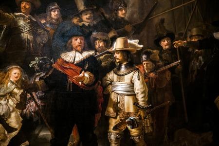 Segmento de piezas de La ronda de noche, la pintura más grande y famosa de Rembrandt en la Galería del Rijksmuseum