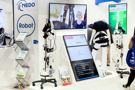 Cyberdyne Robot Suit HAL for providing medical treatments for functional improvement of patients with cerebral, nervous and muscle disorders on exhibition Cebit 2017 in Hannover Messe, Germany