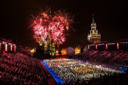 """Firework pyrotechnic show on International Military Tattoo Music Festival """"Spasskaya Tower"""" in Moscow, Russia"""