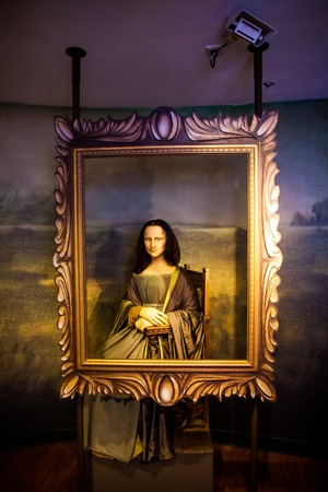 Mona Lisa in Madame Tussauds Wax museum in Amsterdam, Netherlands