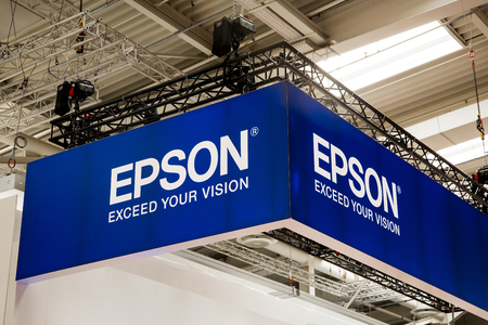 Epson logo sign on booth stand on Messe fair in Hannover, Germany