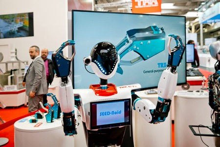 Robot at the booth of THK on Messe fair in Hannover, Germany Editöryel