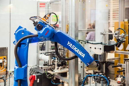 Yaskawa robot arm on Messe fair in Hannover, Germany