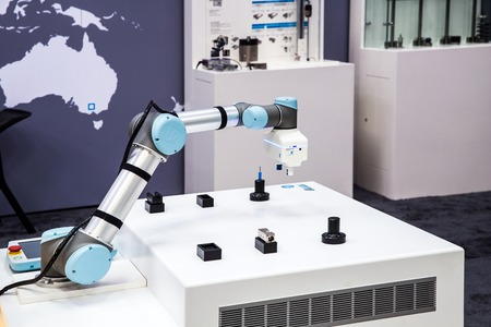 Universal Robots presenting practical examples show how flexible, simple and individual UR robots can be used for every requirement and application on Messe fair in Hannover, Germany